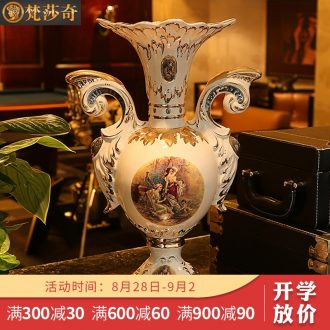 Vatican Sally restoring ancient ways far, European ceramic flower vases luxurious sitting room TV ark household ground adornment furnishing articles