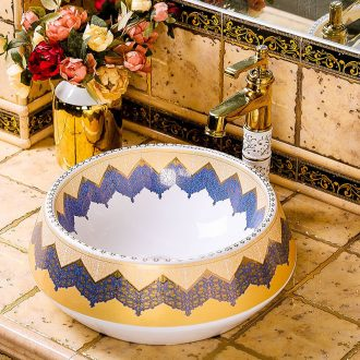 Circular Chinese style restoring ancient ways on the ceramic lavabo basin character art creative household toilet wash basin