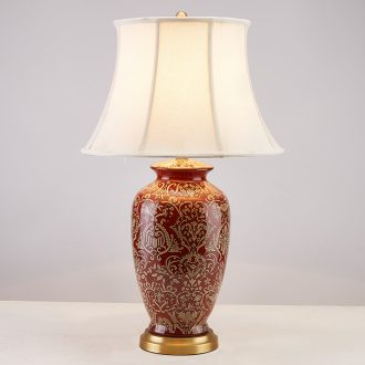 New Chinese style living room bedroom berth lamp between classical european-style villas American example all the copper ceramic lamp