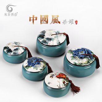 East west tea pot of ceramic tea caddy tea warehouse cylinder packaging Chinese wind blue glaze flat large tea pot