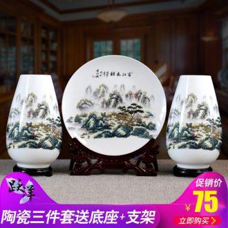 Creative flower three-piece jingdezhen ceramics vase furnishing articles sitting room dry flower arranging flowers small handicraft ornament