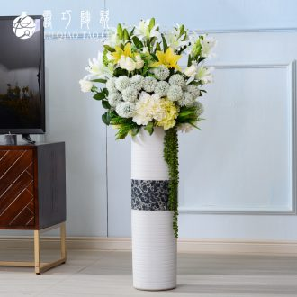 Straight cylindrical landing large north European art ceramics vase ins wind furnishing articles sitting room simulation flower picture tube
