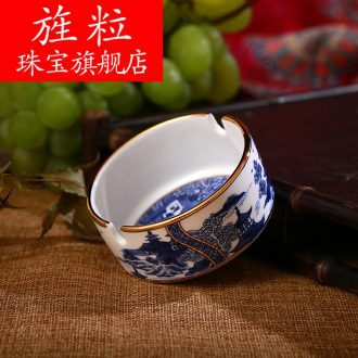 Kt under the blue and white porcelain of jingdezhen ceramics glaze colour classical colour smoke plate the ashtray ashtray manual crafts and gifts
