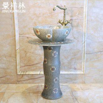 Bathroom ceramic column type lavatory floor pillar basin sinks one-piece balcony column basin
