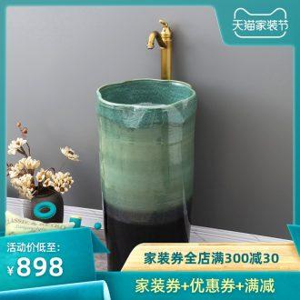 Outdoor garden ceramics column basin one floor type lavatory household balcony small family toilet lavabo