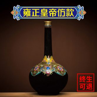 Ning hand-painted archaize sealed kiln jingdezhen ceramic vase furnishing articles rich ancient frame porcelain flower arranging new Chinese style living room decoration