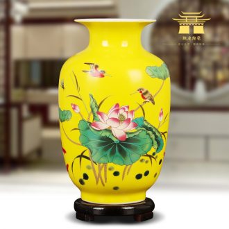 Jingdezhen ceramics yellow floret bottle of lotus flower arranging place Chinese sitting room adornment ark household decoration
