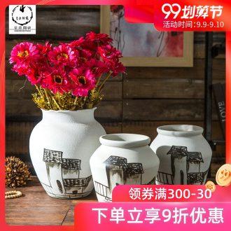 Jingdezhen ceramic bottle retro nostalgia dried flower vase originality and furnishing articles coarse pottery art pottery white decorations