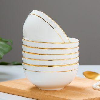 Multiple loading bone bowls of rice bowl jingdezhen household of Chinese style phnom penh porringer contracted ceramic bowl suit rainbow noodle bowl