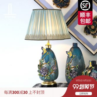 Luxury colored enamel porcelain lamp type crystal lamps and lanterns of bedroom the head of a bed romantic villa living room lighting