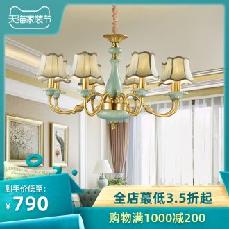 Full copper Europe type droplight luxury atmosphere American ceramic villa living room lamp lights the club hotel lobby engineering lamps and lanterns