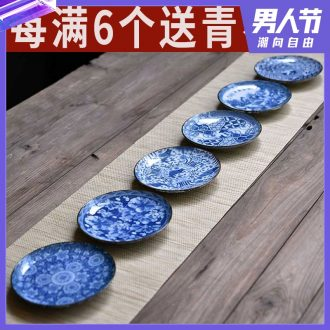 Tao fan restoring ancient ways is blue and white porcelain coarse pottery teacup pad small butterfly saucer insulation pad bearing small pot of tea cup pot pad