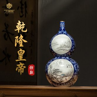 Better sealed kiln jingdezhen Chinese blue and white porcelain vase bottles of archaize of furnishing articles rich ancient frame gourd color ink to restore ancient ways small mouth