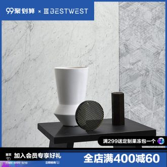 BEST WEST creative black and white ceramic vase furnishing articles living room table dry flower vase decoration decoration
