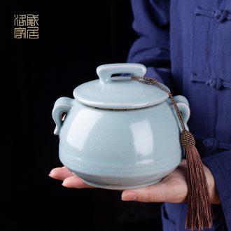 Your kiln jingdezhen kung fu tea caddy portable seal household ceramics caddy tea warehouse size box