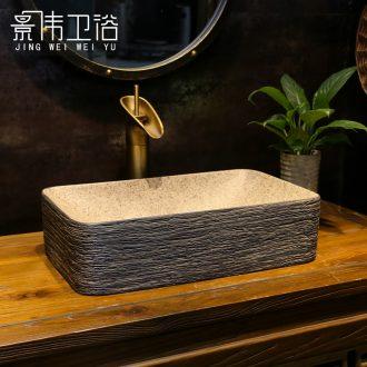 Archaize manual scrub the bathroom on bonsai DE mayor rectangular art basin of black wood grain ceramic wash basin