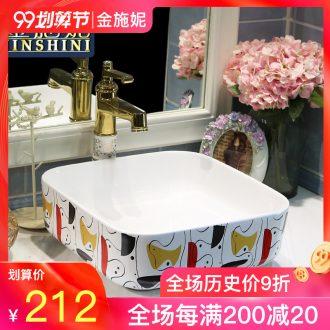 Gold cellnique jingdezhen stage basin ceramic art basin toilet lavabo square basin of abstract art