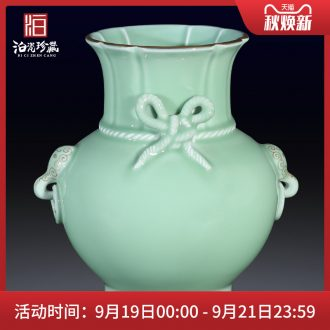 Jingdezhen ceramics imitation qing pea green glaze blessed with double ear vase flower arranging furnishing articles sitting room home decoration collection