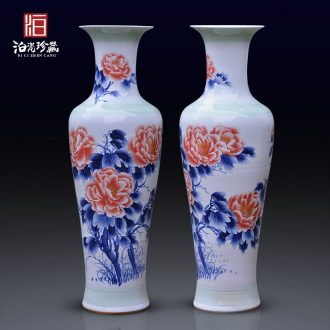 Jingdezhen blue and white peony ceramics of large vases, new Chinese style villa living room hotel opening furnishing articles