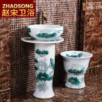 Continental basin sinks household bathroom floor pillar sink ceramic outdoor courtyard garden