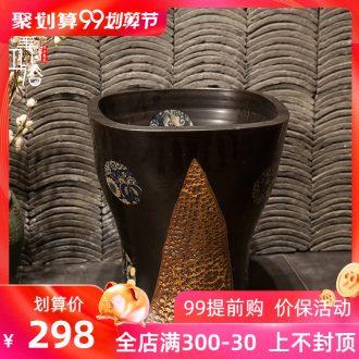 M beauty pool of jingdezhen ceramic mop mop basin balcony outdoor mop pool 40 cm jump cut stone yellow