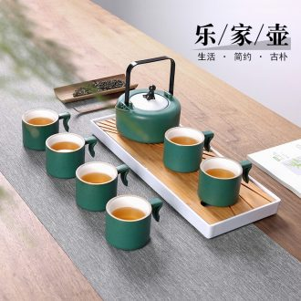 Contracted large teapot teacup set ceramic household large-capacity cold girder kettle pot of green tea, scented tea tea set gift box