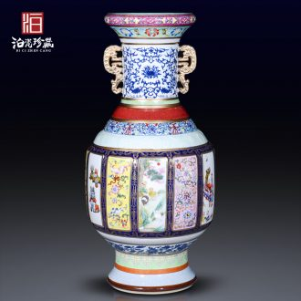 Jingdezhen ceramic imitation qing qianlong famille rose porcelain king of large vases, household living room bedroom adornment collection furnishing articles
