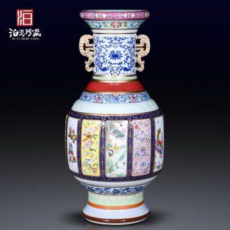 Jingdezhen ceramic imitation qing qianlong famille rose porcelain king of large vases, household living room bedroom adornment collection furnishing articles