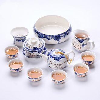 Ronkin home sitting room kung fu tea set and exquisite hollow out teapot ceramic teapot teacup of a complete set of 6
