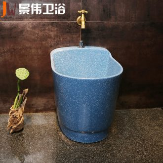 Balcony small ceramic wash mop pool blue rectangle mop pool floor archaize rinse mop pool
