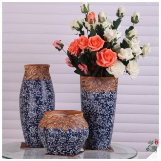 Modern Chinese art show of jingdezhen ceramic vase three-piece porch decorate household act the role ofing is tasted