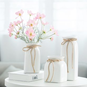 Like a flower european-style fake flowers home decoration decoration floral suit small pure and fresh and simulation hemp rope ceramic vase