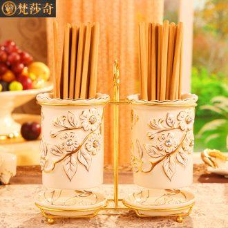 Vatican Sally's new European chopsticks chopsticks cage luxury home kitchen ceramic tube drop binocular chopsticks chopsticks holder