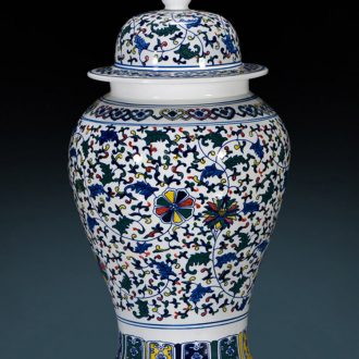 General antique porcelain jingdezhen ceramics vase colorful tank large sitting room porch decorate the Chinese style furnishing articles