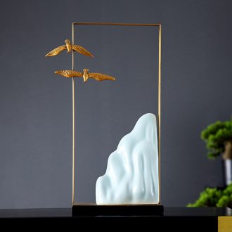 Lamp is acted the role of form a complete set of new Chinese ceramic desktop furnishing articles furnishing articles landscape all of contemporary and contracted copper art ornaments