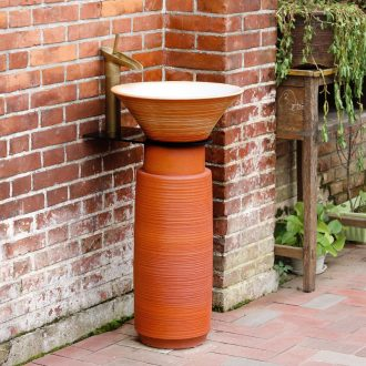 Pillar lavabo toilet stage basin floor industry integrated wind face simple ceramic outdoor balcony column basin