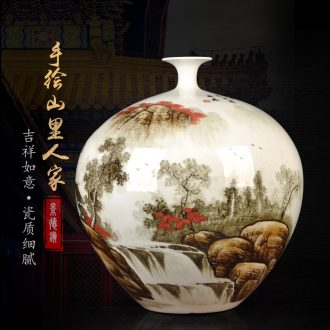Jingdezhen ceramics furnishing articles antique hand-painted pomegranate vase flower arranging rich ancient frame sitting room of Chinese style household ornaments