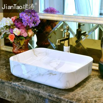 The stage basin ceramic art square simple imitation marble on the sink basin bathroom sink