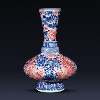 Jingdezhen ceramics creative manual imitation qianlong Chinese blue and white porcelain vase sitting room porch rich ancient frame furnishing articles