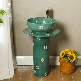 M beautiful household ceramics vertical column type lavatory balcony sink one-piece toilet stage basin to the ground