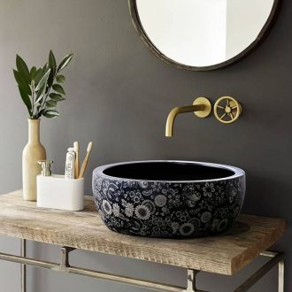 Washing a face, ceramic lavabo jingdezhen porcelain round basin of Chinese style restoring ancient ways the hotel bathroom art stage basin