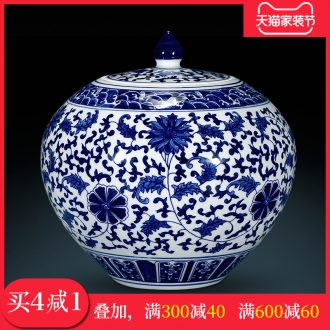 Archaize ceramic vase furnishing articles hand-sketching jingdezhen blue and white porcelain cover tank storage tank is Chinese style living room home decoration