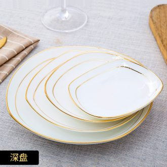 European ceramic plate creative phnom penh square bone soup plate household food dish plate jingdezhen porcelain western-style food tableware