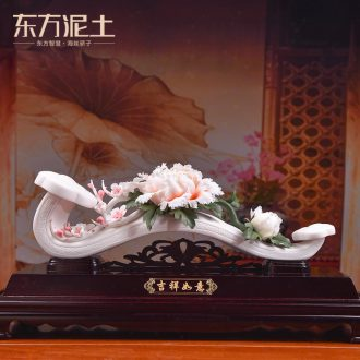 Oriental clay ceramic flower furnishing articles dehua white porcelain art house moved into the sitting room/good lucky for you