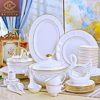Household utensils sets jingdezhen ceramic European high-grade 68 skull porcelain tableware abnormity bowl plates spoon