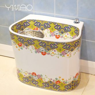 Million birds rainbow art mop pool Europe type ceramic mop pool balcony toilet wash mop pool mop bucket