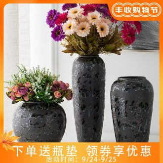 Jingdezhen living room TV cabinet porcelain vase porch archaize ceramic bottle furnishing articles black flower implement retro decoration bottles