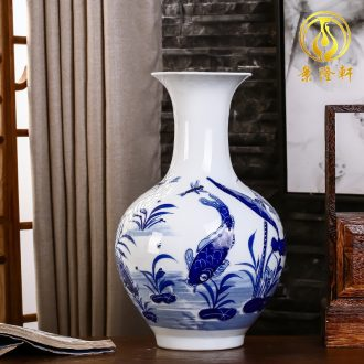 Jingdezhen ceramics hand-painted household adornment blue and white porcelain vase carving handicraft sitting room ark furnishing articles