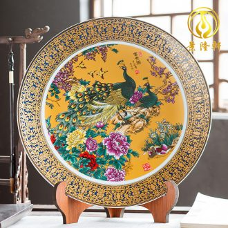 Jingdezhen ceramics furnishing articles household decorations hanging dish sitting room ark large Chinese arts and crafts decorative plate