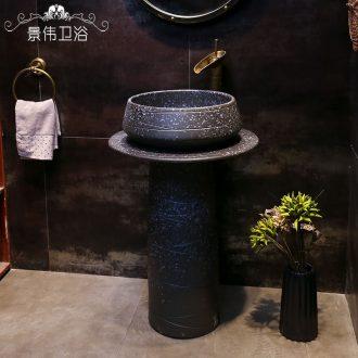 Retro pillar basin archaize ceramic pillar lavabo balcony floor type lavatory industrial wind one basin